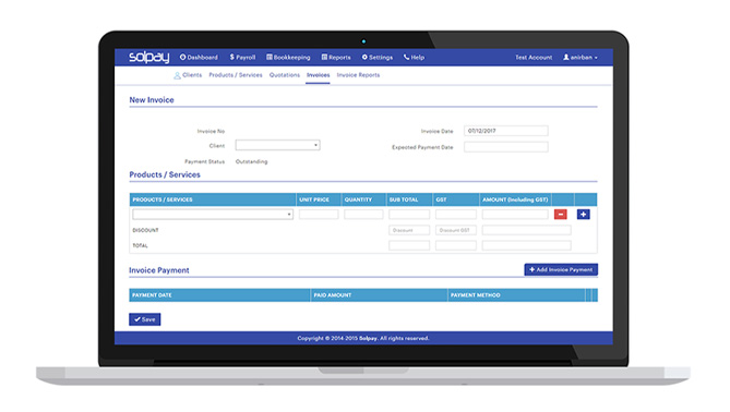 Customising Invoices is easy in Solpay